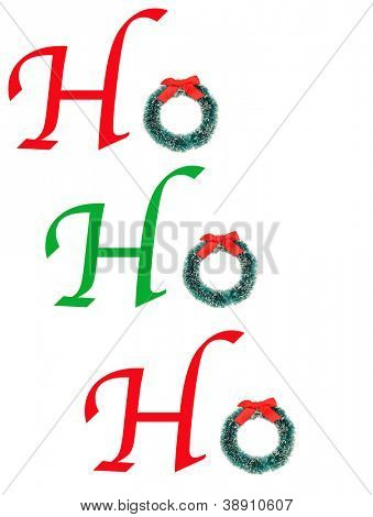 The words HoHoHo spelled out with type and a christmas wreath. Vertical format over white.