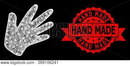 Glowing Mesh Polygonal Hand With Lightspots, And Hand Made Corroded Ribbon Watermark. Red Stamp Seal