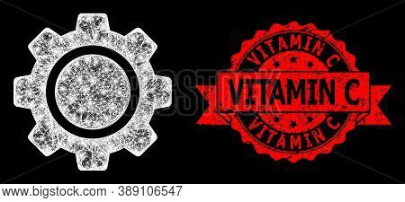 Glare Mesh Polygonal Cog Wheel With Light Spots, And Vitamin C Grunge Ribbon Seal. Red Stamp Seal Co