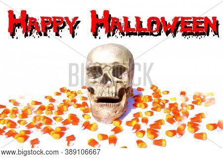 Human Skull. Halloween Human Skull with Candy. Isolated on white. Room for text. Removable Happy Halloween Text.