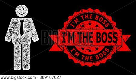 Glare Mesh Polygonal Happy Boss With Glowing Spots, And Im The Boss Dirty Ribbon Stamp. Red Stamp Ha