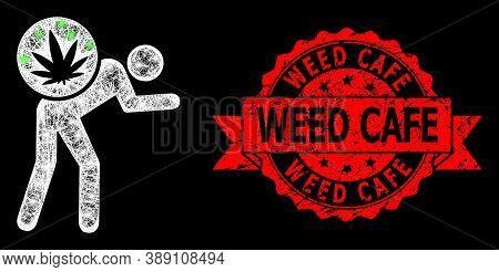 Glowing Mesh Polygonal Cannabis Courier With Glowing Spots, And Weed Cafe Dirty Ribbon Stamp Seal. R