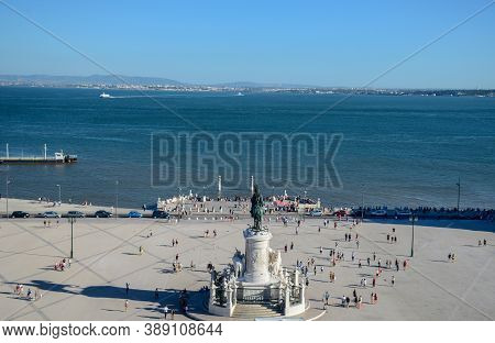 Commerce Square With Statue Of King Jose I And Tagus River, From Rua Augusta Arch Fabulous Viewpoint