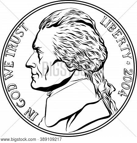 Jefferson Nickel, American Money, United States Five-cent Coin With Jefferson, Third President Of Us