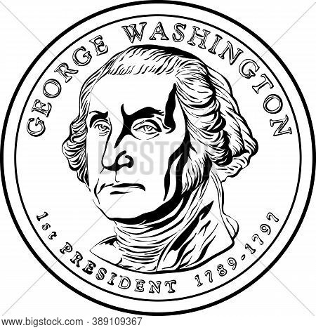 American Money Presidential Dollar Coin, With First President Of The United States Washington On Obv