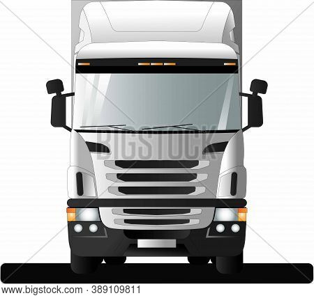 Image Of A Modern European Truck With A Semi-trailer. Flat Style Line Art Illustration. Front View