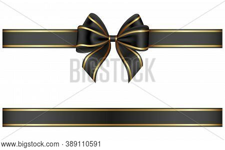 Black Ribbon And Bow With Gold Edging