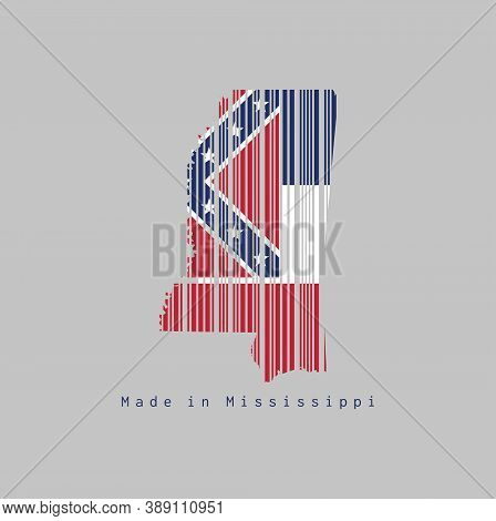 Barcode Set The Shape To Mississippi Map Outline And The Color Of Mississippi Flag On Grey Backgroun