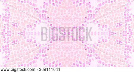 Seamless Cobra Pattern. Pink And White Rapport. Jungle Exotic Illustration. Reptile Leather Wild Pri