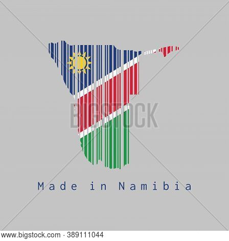 Barcode Set The Shape To Namibia Map Outline And The Color Of Namibia Flag On Grey Background, Text:
