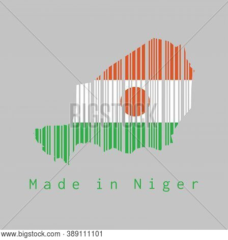 Barcode Set The Shape To Niger Map Outline And The Color Of Niger Flag On Grey Background, Text: Mad