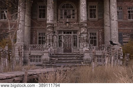 Abandoned Haunted House Refuge Of Spirits 3d Illustration