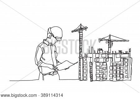 Line Construction, Civil Engineer, Architects And Worker, Vector Design
