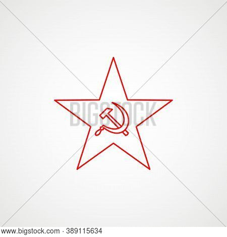 Linear Icon Of Communism. Hammer, Sickle Inside The Star. Red Soviet Emblem. Minimalist Coat Of Arms