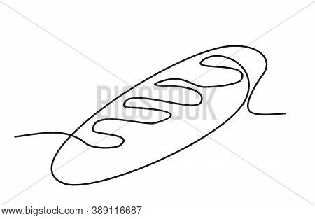 Continuous One Line Loaf Of Bread. One Continuous Line Drawing Of Long Loaf Bread. Simple Black Line