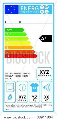 Tumbledryer gaz new energy rating graph label in vector.