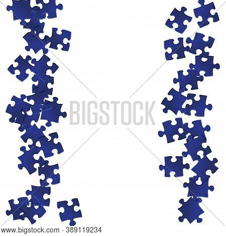 Game Mind-breaker Jigsaw Puzzle Dark Blue Pieces Vector Background. Group Of Puzzle Pieces Isolated
