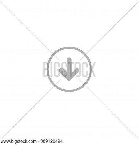 Grey Rounded Arrow Down In Grey Circle Icon. Flat Download Sign Isolated On White.