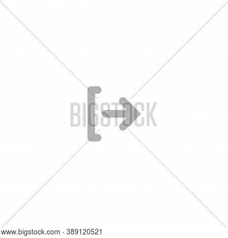 Exit Or Logout, Log Off Icon. Isolated On White. Grey Rounded Right Rounded Arrow With Bracket.