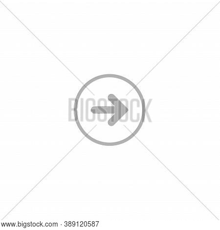 Grey Right Rounded Arrow In Grey Circle Icon. Isolated On White. Continue Icon.