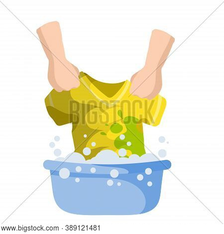 Washing Clothes In Basin Of Soapy Water. Hands Holding T-shirt.