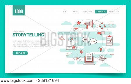 Storytelling Concept With Circle Icon For Website Template Or Landing Page Banner Homepage