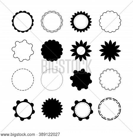 Scalloped Edged Frames. Edge Circle Badge. Concept For Your Design.