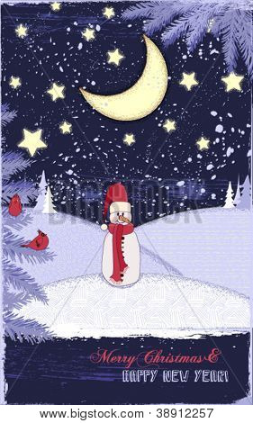 Winter Holidays Greeting Card - Snowman in a dreamy, snowed-in landscape at night, with stars, moon, snowy hills, pine trees and cardinals; copyspace for Christmas and New Year's greetings