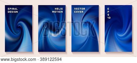 Gradient Helix Torsion Spin Cover Page Templates Vector Set. Soft Brochure Front Pages Collection. F