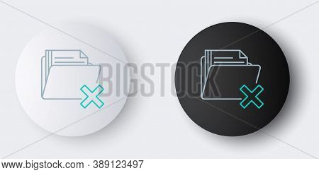 Line Delete Folder Icon Isolated On Grey Background. Folder With Recycle Bin. Delete Or Error Folder