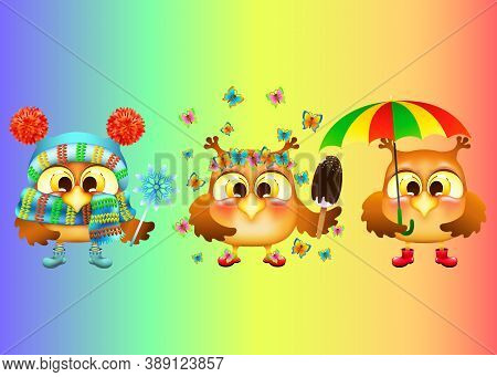 Set Of Three Funny Cartoon Owls And Different Seasons On Rainbow Background. Weather In The Winter,