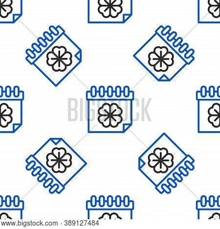 Line Saint Patricks Day With Calendar Icon Isolated Seamless Pattern On White Background. Four Leaf