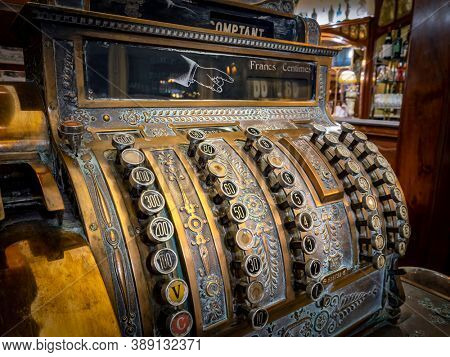 LYON, FRANCE - September 17, 2020:Old antique cash register, Lyon, France