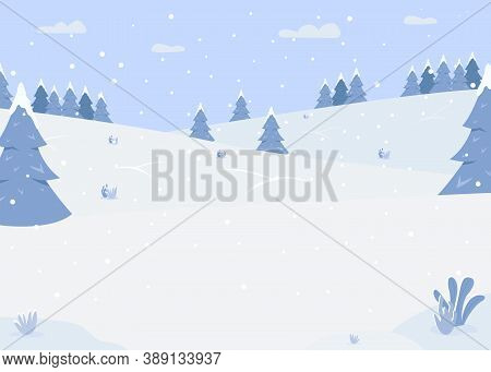 Snowy Forest Hills Flat Color Vector Illustration. Zone For Outdoor Activities. Road For Sledging. B