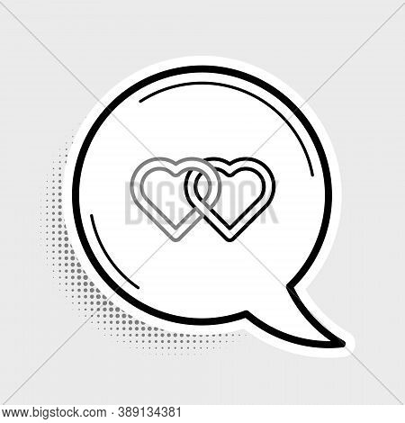Line Two Linked Hearts Icon Isolated On Grey Background. Romantic Symbol Linked, Join, Passion And W