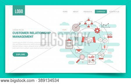 Crm Customer Relationship Management Concept With Circle Icon For Website Template Or Landing Page B