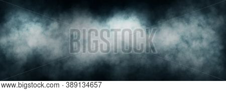 Abstract Image Of White Smoke Or Fog In Black Background.