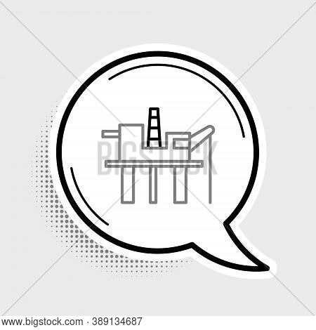 Line Oil Platform In The Sea Icon Isolated On Grey Background. Drilling Rig At Sea. Oil Platform, Ga