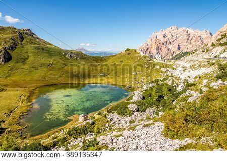 View At The Lake Valparola In Dolomites - South Tyrol,italy