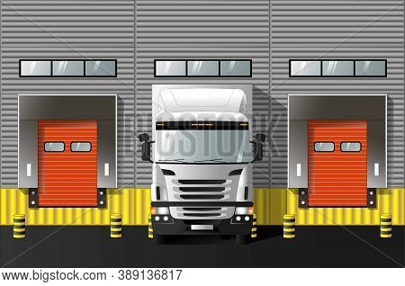 Unloading Trucks At A Modern Warehouse Complex. Vector Graphics