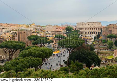 Rome, Italy - Aprill 21, 2019: Aerial Scenic View Of Rome, Italy. Scenery Of Roma City.