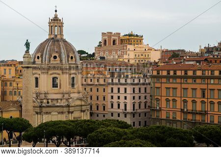 Rome, Italy - Aprill 21, 2019: Aerial Scenic View Of Rome, Italy. Scenery Of Roma City