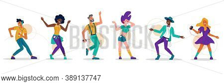 People Dance, Music Party Dancers, Flat Isolated Icons. Girl Woman And Men Dancing To Music, Listeni