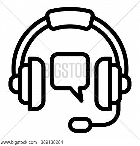 Gaming Headset Stream Icon. Outline Gaming Headset Stream Vector Icon For Web Design Isolated On Whi