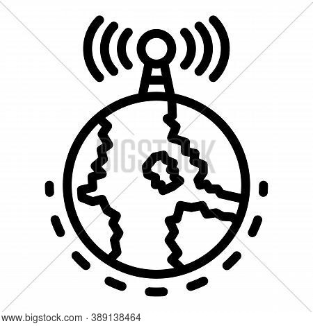 Radio Global Tower Icon. Outline Radio Global Tower Vector Icon For Web Design Isolated On White Bac