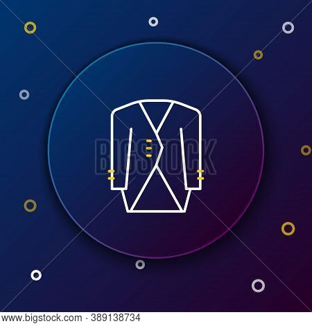 Line Suit Icon Isolated On Blue Background. Tuxedo. Wedding Suits With Necktie. Colorful Outline Con