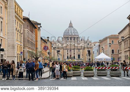 Vatican City, Italy - Aprill 21, 2019: Basilica Di San Pietro, Vatican, Rome Italy
