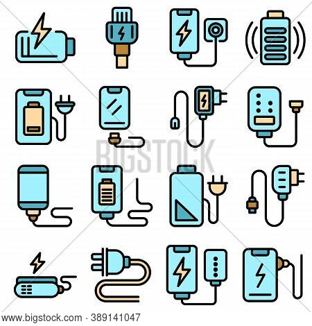 Charger Icons Set. Outline Set Of Charger Vector Icons Thin Line Color Flat On White