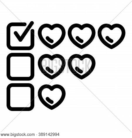 Like Hearts Product Review Icon. Outline Like Hearts Product Review Vector Icon For Web Design Isola