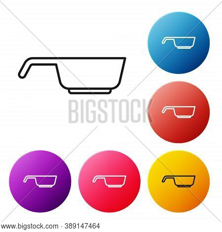 Black Line Frying Pan Icon Isolated On White Background. Fry Or Roast Food Symbol. Set Icons Colorfu